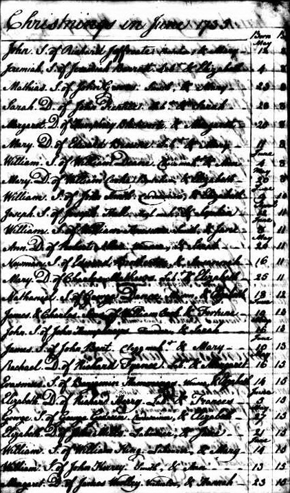 Parish register St Luke, Finsbury: Christening of Nathaniel Dance 12 June 1735