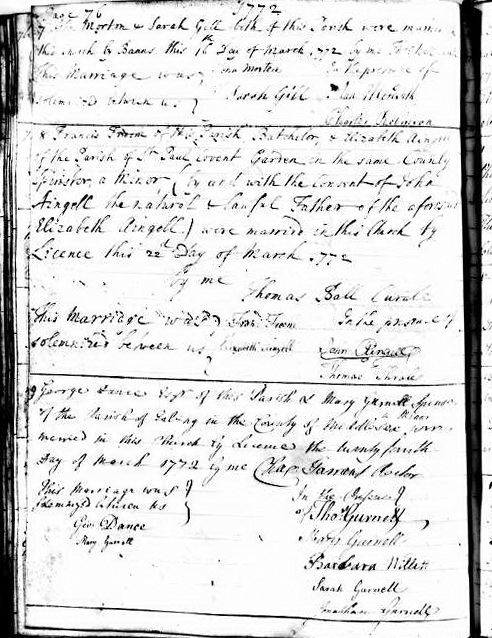 Parish Register St George at Bloomsbury: marriage of George Dance and Mary Gurnell 24 March 1772