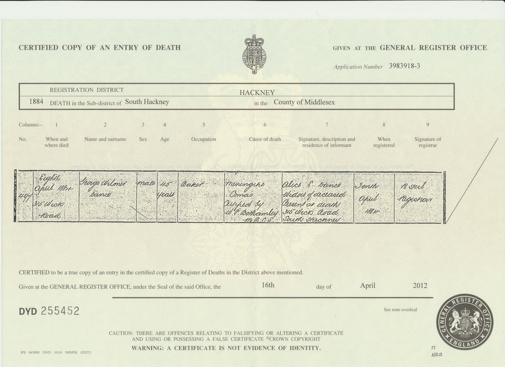 George Wilmer Dance death certificate