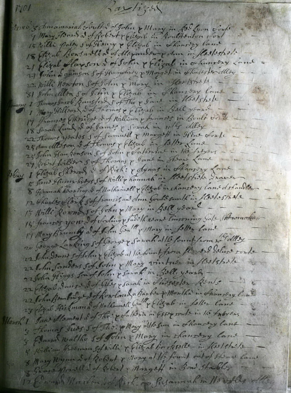 Parish register St Dunstan in the West: Christening of Elizabeth Dance 22 February 1701