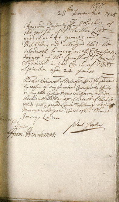 Parish register St Leonard Shoreditch: marriage allegation Paul Sushior and Elizabeth Dance