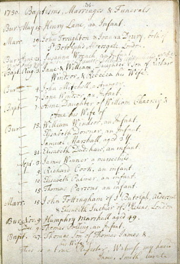 Parish register St Margaret Edgeware: marriage of John Tottingham and Elizabeth Dance 15 September 1730