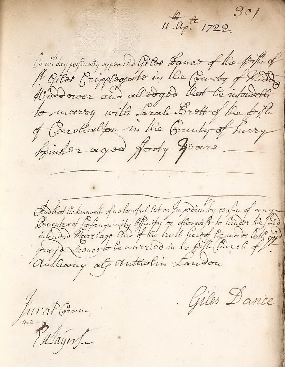 Marriage Allegation made by Giles Dance 11 April 1722