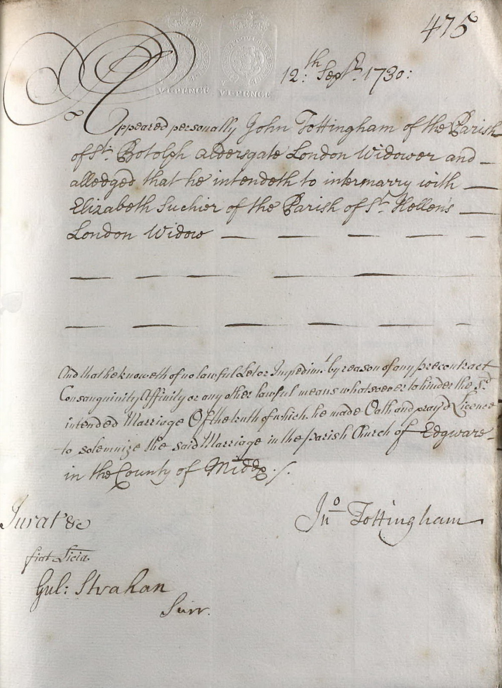 Marriage Allegation made by John Tottingham 12 September 1730