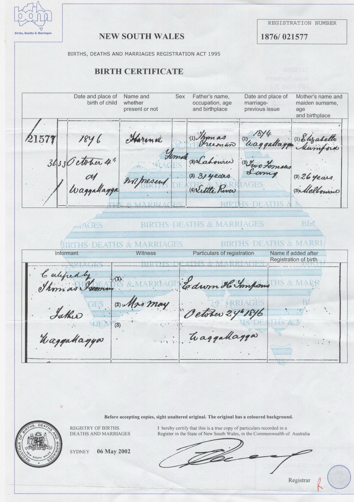 Florence Freeman birth certificate