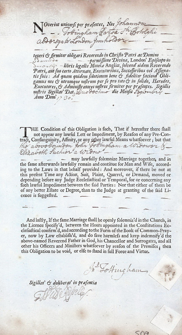 Another marriage allegation made by John Tottingham 12 September 1730