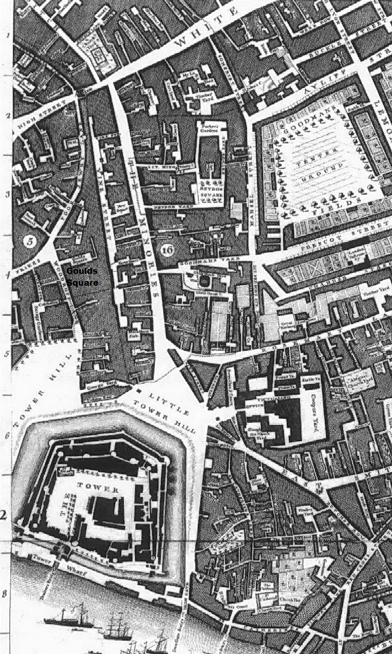 Map of part of 18th century London showing Goulds Square