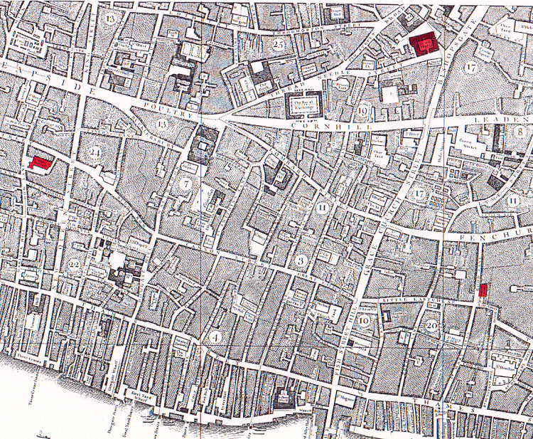 Map of London showing location of South Sea House (red spot top right)
